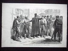 GRAVURE ANCIENNE 19e - 'ESPAGNE - RECRUTEMENT CARLISTE DANS VILLAGE DE BISCAYE