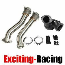 Turbo Diesel Exhaust Up Pipes Polished T304SS For Ford 7.3L Powerstroke 99.5-03