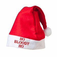 HO BLOODY HO Red Santa Hat Printed Festive Father Christmas Novelty Customised