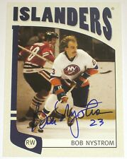 BOB NYSTROM SIGNED ITG FRANCHISES NEW YORK ISLANDERS CARD AUTOGRAPH AUTO!