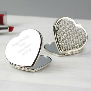 Personalised Silver Diamante Heart Compact Mirror - Engraved Free - For Her