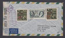 Brazil Sc C45, C55, C56v on 1944 Censored Registered Air Mail Cover, Error.