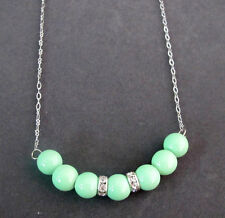 Mint Green Pearl Necklace Mint Green Jewelry Wedding Floating 7 Pearl Necklace