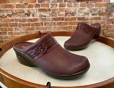 Clarks Mahogony Brown Leather Marion Jess Wedge Mule Clogs 8 NEW
