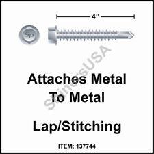 (500) 14 x 4 Self Drilling TEK 3 Hex  Washer Head Zinc Siding Screw #137744