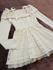 LIZ LISA Sweater top Dress Japan-M Ivory Off white Jacquard lace Hime&Lolita 109