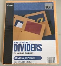 Mead Add-a-pocket Dividers, Yellow, 8 Pack NEW