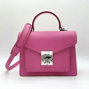 $975 MCM Patricia Sugar Pink Small Leather Crossbody Shoulder Bag MWE9APA68QS001