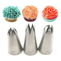 1/3PCS Flower Cream Piping Nozzle Stainless Steel Pastry Tip Bakery Cake Decor