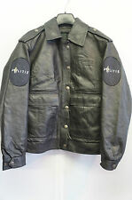 VINTAGE WOMAN'S DUTCH POLICE POLITE LEATHER MOTORCYCLE JACKET SIZE 40