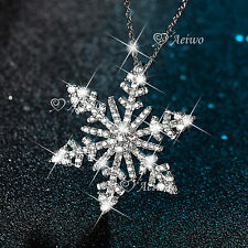18K WHITE GOLD GF CLEAR CRYSTAL PENDANT SNOWFLAKE NECKLACE SPARKLING