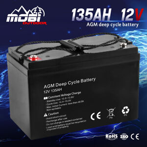 MOBI 135AH 12V AGM Battery Deep Cycle Camping Marine 4WD Solar SLA Lead Acid