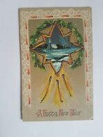 Greeting Postcard Vintage New Years Star