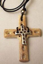 Collier Pendentif religieux Croix de Moine imposante Résine Bijou Vintage R