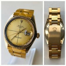 Very Rare Vintage & Old Rolex BARK BARK 14k Solid GOLD Ref 1500 Mens Date Watch