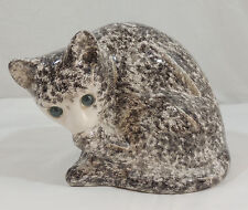 """Alcobaca Portuguese Pottery Grey & White Cat Cleaning Paw 8"""" Statue"""