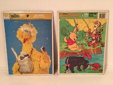 2 Vintage Frame Tray Puzzles Disney Winnie the Pooh Sesame Street Big Bird Mail
