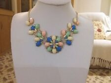 and tiny clear crystals in gift box Brand new gold necklace with coloured stones