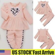 Toddler Kids Baby Girls Outfits Clothes Ruffle Tops Pants Leopard Tracksuit Set