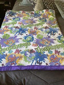 "Goosebumps Blanket Scary Queen Made USA Vintage RL Stine Purple Trim 86""x 71"""