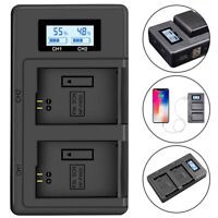 Dual Slot Camera Battery Charger LCD Display For Sony Alpha NP-FW50 Batteries