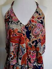 Multi Color Paisley Halter Dress Ties At Neck V Front Asymmetrical Hem Size L