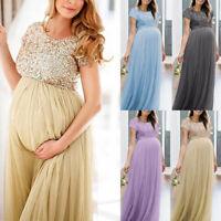 Women Maternity Pregnant Long Maxi Gown Photography Photo Shoot Fancy Dress