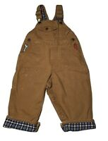 Oshkosh Overalls Tan Vestbak With Embroidered Tools Size 18 Months Lined Flannel
