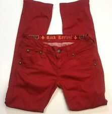 Rock Revival Maroon Red Womens Holly Straight Leg Denim Jeans Size 28
