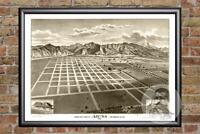 Vintage Azusa, CA Map 1887 - Historic California Art - Old Victorian Industrial
