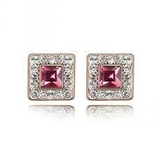 GORGEOUS 18K GOLD PLATED PINK/CLEAR GENUINE CZ & AUSTRIAN CRYSTAL STUD EARRINGS