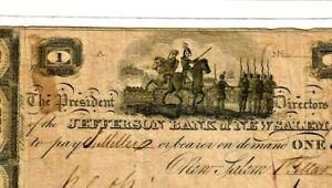 """$1 """"BANK OF NEW SALEM"""" (BATTLE NOTE)!!! 1800'S $1 """"JEFFERSON BANK"""" CRISPY!! NICE"""