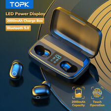 Bluethooth 5.0 TWS Wireless Headphone Earbuds 2000mAH charging Box Sports Earpho