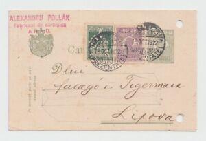 1922 ROMANIA POSTCARD USED LIPOVA ROYAL POST SPECIAL MARKING