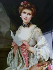 More details for beautiful new black lacquer russian box portrait of a lady.