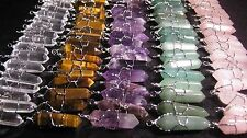10 Pendants LOT Crystal Point Silver Wire Wrap Wrapped Charms U-Pick WHOLESALE