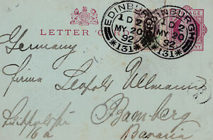 1892 QV EDINBURGH LETTER CARD SENT TO BAVARIA GERMANY UPRATED WITH JUBILEE STAMP