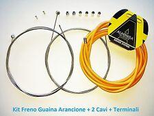 Kit Freno Guaina Arancio + 2 Cavi + Terminali per bici 20-24-26 MTB Mountain Bik