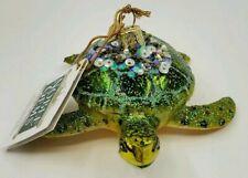 Kurt Adler Noble Gems Sea Turtle Glass Nautical Christmas Ornament