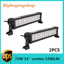 2X Epistar 14in 72W Combo LED Work Light Bar Offroad Jeep SUV ATV  Offroad
