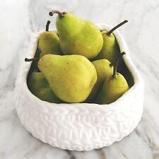 Woven Basket White Ceramic Bowl 20cm Round Hamptons Coastal Home Decor