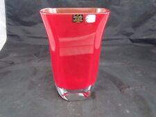 """BLOCK"" Red Crystal Vase Modern Art San Carlos Crystal Collection Salinas Lovely"