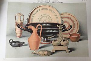 ANTIQUE PRINT C1870'S CERAMIC ART ANCIENT GREEK CYPRIAN AND ETRUSCAN ART