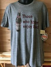 LUCKY BRAND Men's Graphic Bud Budweiser Beer Label Heather Gray S/S XL NWT