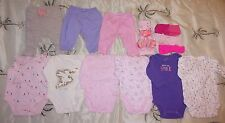 Mixed lot Infant Girls Clothing size 0 - 3 months Shirts Tops Pants & Head Bands