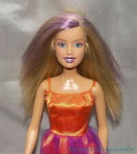 BARBIE HALLOWEEN CHARM WITCH Fashion Doll w/Purple Streaks & Orange Satin Dress
