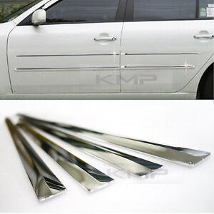 Chrome Side Skirt Door Line Sill Garnish Molding Trim Cover 4Pcs for UNIVERSAL