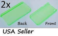2x Apple iPhone 4/4s Light Green Thin Crystal Clear Hard TPU Case Cover