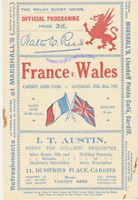 WALES v FRANCE 1925 RUGBY PROGRAMME 28 Feb at CARDIFF