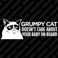 GRUMPY CAT Doesn't Care About Your Baby On Board Meme Hates Vinyl Decal Sticker